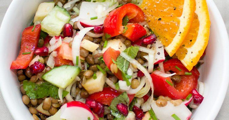 Linsensalat mit Mango und Paprika